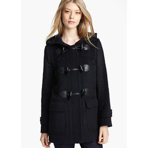 BNWT BURBERRY MAWDESLEY Blackwell Hooded Toggle Coat 100% Wool BLACK US 2